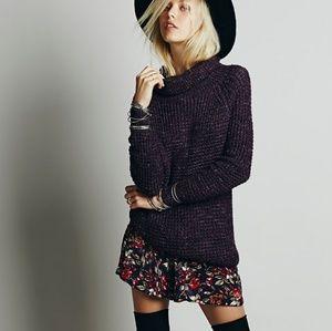 Free People Purple Dylan tweedy sweater tunic L